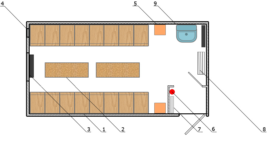 «Сушилка» на 16 человек (6000×2500)
