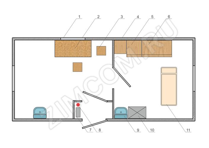Вагон-дом медпункт 6000×2500