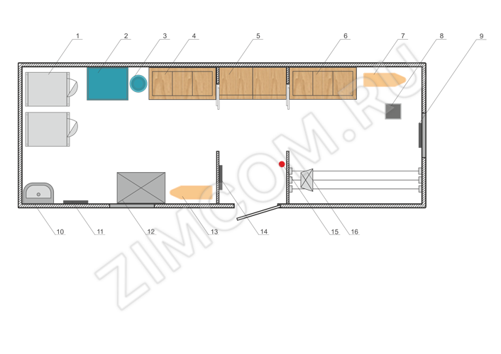 Вагон-дом прачечная 8000×2500